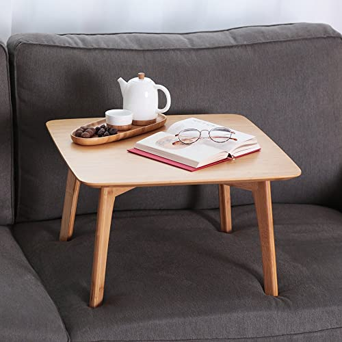 ZEN'S Bamboo Small Coffee Table Square Tatami Table Storage Basket 2 Sponge Cushions Living Room Furniture