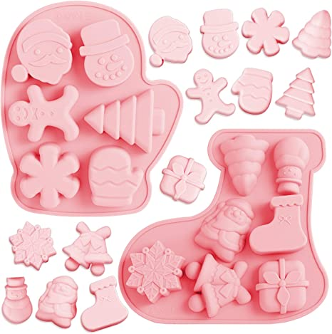 12-cavity Chirstmas Tree Santa Claus Cake Mold Flexible Silicone Choclate Mold Soap Mold Soap Candle Candy