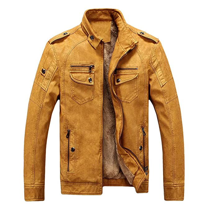 Men Winter Plus Velvet Thickening Vintage Leather Jacket ...