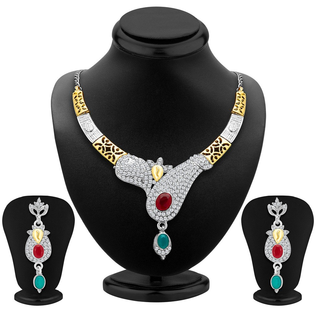 Sukkhi Women's Glorious Gold And Rhodium Plated Ad Necklace Set 40 by Sukkhi (Image #2)