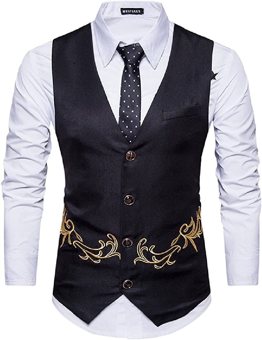CrazyDayMen Bussiness Casual Fitted Single-Breasted Floral Embroidery Suit Waistcoat