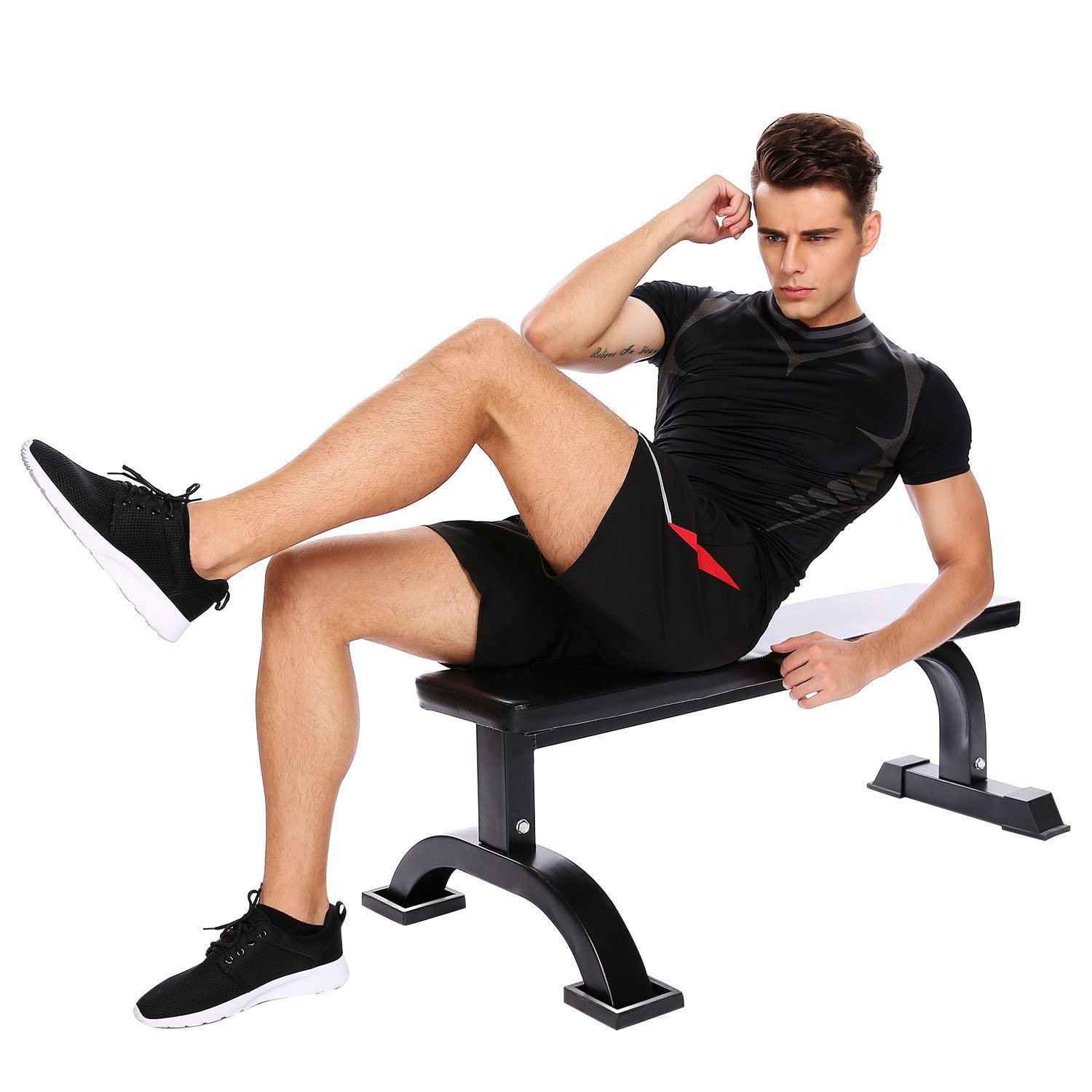 Flat Weight Bench Height Heavy Duty Padded Flat Weight Lifting Bench by evokem