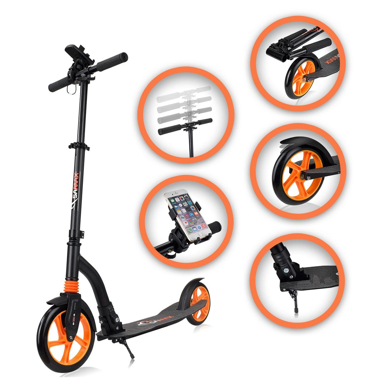 SAMAX Patinete Scooter para Ciudad Deporte Adultos Ajustable Aluminio Plegable Suspensión - GO en Negro