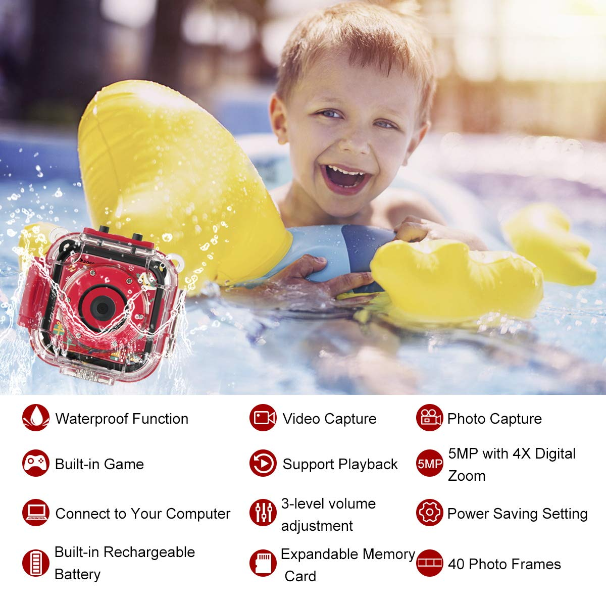 Prograce Kids Camera Underwater Waterproof Camera Camcorder for Boys Girls 4X Digital Zoom 3-Level Volume Adjustment(Red) by Prograce (Image #5)