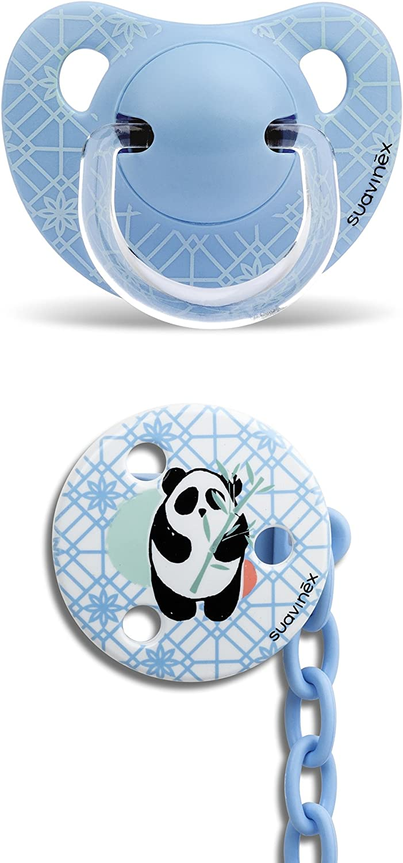 Suavinex - Pack Chupete Tetina Anatómica 6-18 Meses Látex + Broche Redondo. 0% BPA, Diseño Panda Color Azul: Amazon.es: Bebé