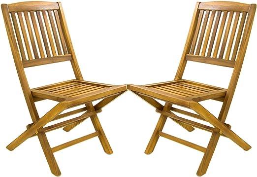 Pack 2 sillas jardín Teca Plegables | Madera Teca Grado A | Tamaño: 51x55x90 cm | Tratamiento al Agua aplicado | Portes Gratis…: Amazon.es: Jardín