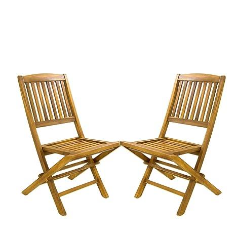 Pack 2 sillas jardín Teca Plegables | Madera Teca Grado A | Tamaño: 51x55x90 cm | Tratamiento al Agua aplicado | Portes Gratis…