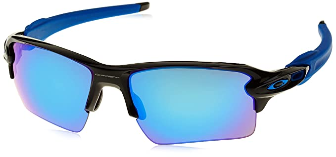oakley mens flak 2.0 xl baseball sunglasses  oakley team colors sunglasses, flak 2.0 xl polished black/sapphire iridium