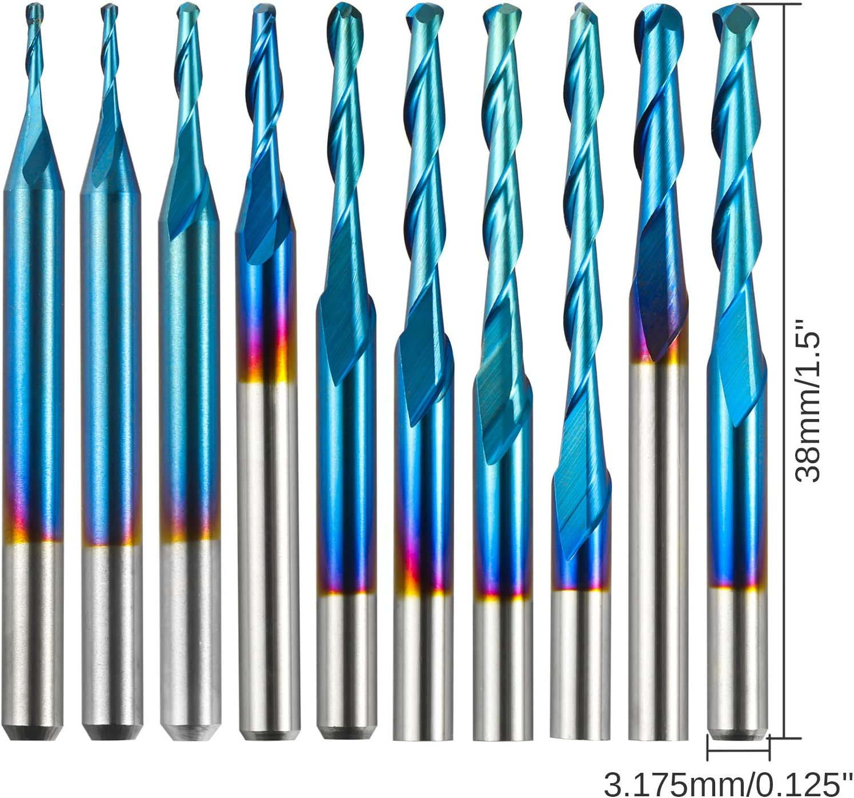 Myouzhen-bits 4//6mm Shank Ball Nose End Mill Cutting Edge Length : 4x42x70 Materials 2 Flute CNC Router Bit Nano Blue Coated Carbide Milling Cutter
