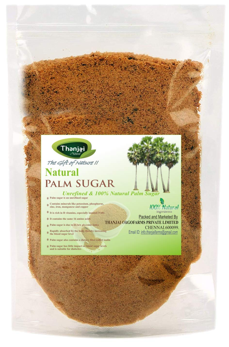 Palm Sugar 500 Grams Pouch 100% Natural Traditional Made Method Pure Directly from Farmer