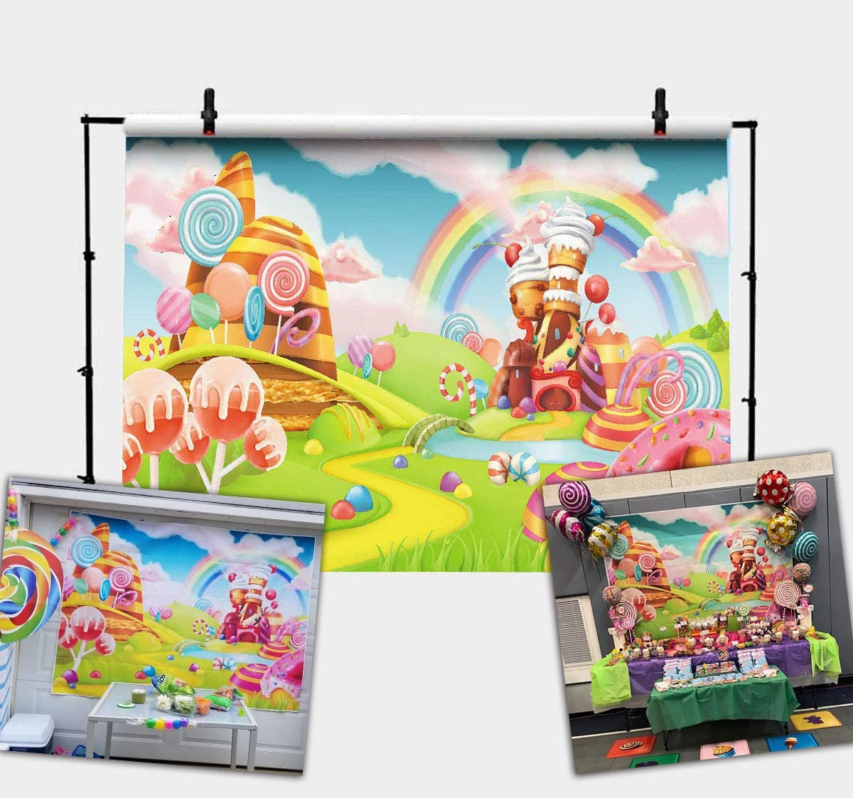 Sweet Cartoon Candy Paradise Backdrop 7x5ft Vinyl Pastel Creamy Cabin Lollipops Donut Arch Door Chocolate Path Biscuit Sun Blue Sky Photography Background Baby Birthday Party Banner Cake Smash