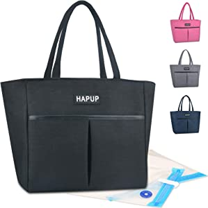 Lunch Bag Insulated Lunch Bags Adult Lunch Box Large Thermal Lunchbox Tote Bag Set with Multi Zipper Pockets and 2 Reusable Sandwich Bags Washable for Women Men Work College Travel Picnic (Black)