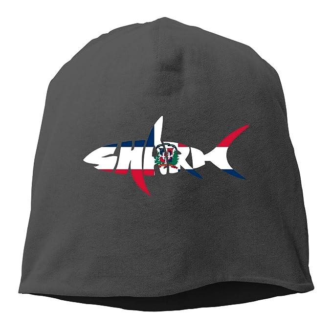 Dominican Republic Flag Shark Letter Beanie Skull Cap for Women and Men Winter Warm Knit Hat