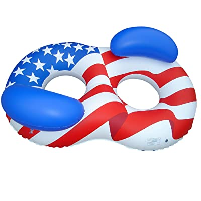 "65"" Inflatable Patriotic American Flag Duo Circular Swimming Pool Lounger: Toys & Games"