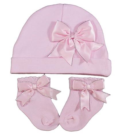 Juego de gorro y calcetín para bebé niña rosa con lazos ...
