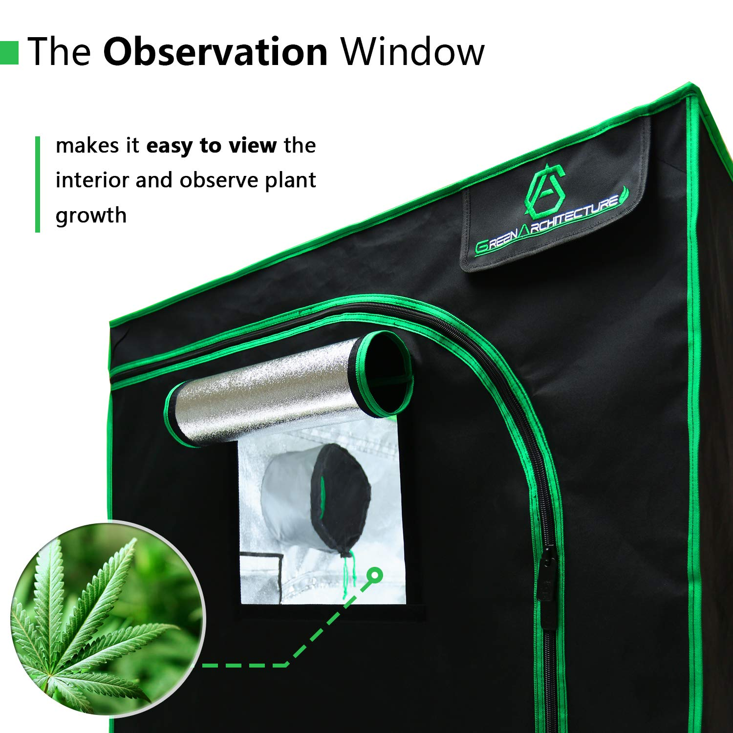 GA Grow Tent,94x48x80 Reflective Mylar Hydroponic Grow Tent with Observation Window and Waterproof Floor Tray for Indoor Plant Growing.4x8 by GreenArchitecture (Image #3)
