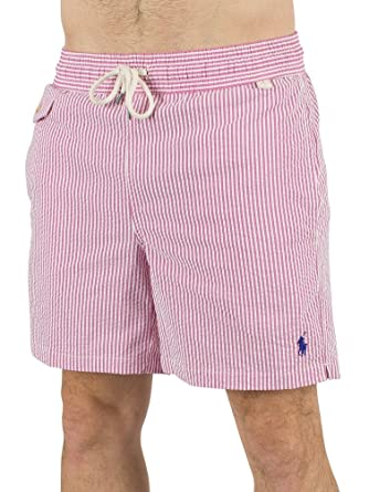 ffd7ecaf8 Mens Polo Ralph Lauren Rhododendron Seersucker Striped Traveller Swim Shorts  - M  Amazon.co.uk  Clothing