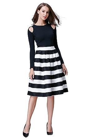 HIKA Women's High Elastic Waist Flare Pleated A-line Midi Skirt (L, Black)