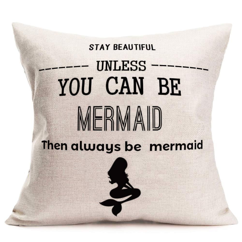 Aremazing インスピレーショナル スイートラブ&ホーム 引用句 コットンリネン ホームデコ 枕カバー スローピロークッションカバー 18 x 18インチ 18 X 18 Inches  Unless You Can Be Mermaid B07QCM4PXR