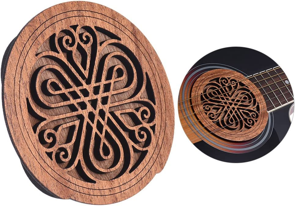 Festnight Guitar Wooden Soundhole Sound Hole Cover Block Feedback Buffer Mahogany Wood for EQ Acoustic Folk Guitars