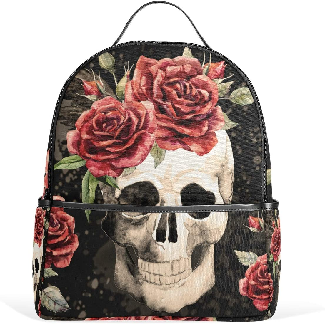 XMCL Casual Bag,Watercolor Gothic Skull Rose Shoulder Zipper Backpack Hiking Travel Daypack College Bookbag for Woman