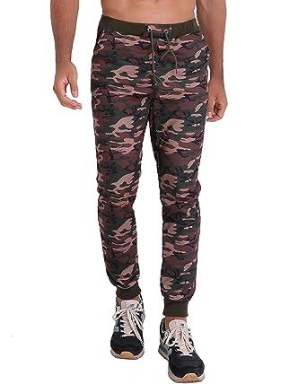 456c0895b235 MODCHOK Men s Jogger Pants Camo Cargo Trousers Camouflage Sports Twill  Drawstring Casual Chino Sweatpants Army Green