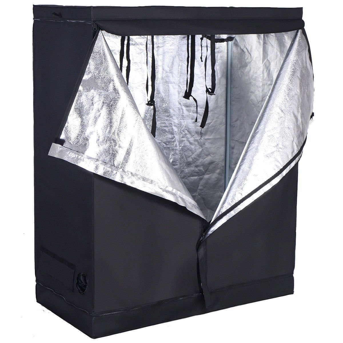 Giantex Plant Growing Tent Indoor Grow Tent Room Reflective Hydroponic Non Toxic Clone Hut 6-Size Indoor Grow Tent (48''X24''X60'')