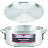 "Winco AXBZ-15, 15-Quart 14-3/8"" x 5-3/4"" Super Aluminum Brazier Pan with Cover, Heavy-Duty Commercial Grade Braiser Pan with Lid, NSF"