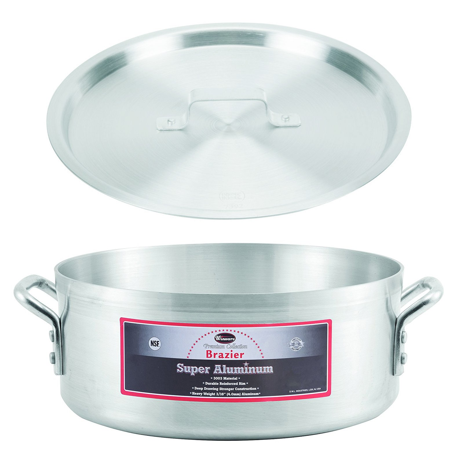 Winco AXBZ-24, 24-Quart 18-3/8'' x 5-3/4'' Super Aluminum Brazier Pan with Cover, Heavy-Duty Commercial Grade Braiser Pan with Lid, NSF by Winco