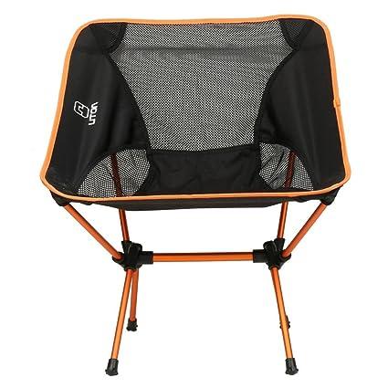 Outeck Silla ligera y plegable, reclinable, para exterior e interior, senderismo, picnic, pesca, con cojín trasero, fácil almacenaje, incluye bolsa, ...