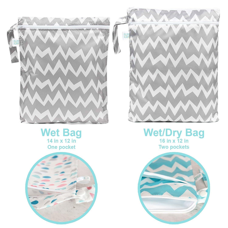 Bumkins Waterproof Zippered Wet/Dry Bag, Purple Dandelion WDB-901
