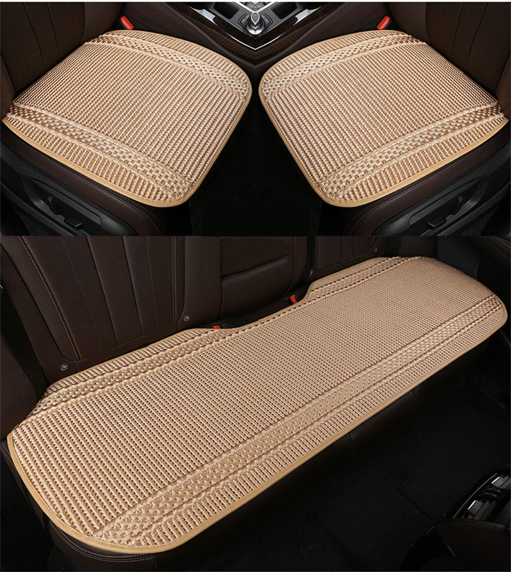LONG Car seat three-piece ice silk car seat cushion can choose a variety of colors no backrest,Black,onepiece