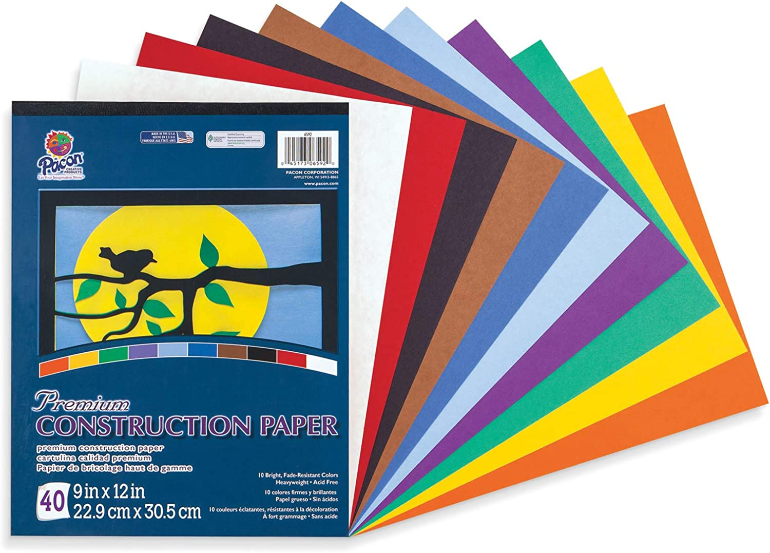 Pacon Tru-Ray Construction Paper 9 in by 12 in Assorted