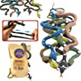 Rubber Snake14 Inch Snake Toy Set(6 Pack)Food Grade Material TPR Super StretchyWith Learning CardValeforToy Realistic Fake Snake Figure Keep Bird Away Bathtub Garden Rainforest Squishy Reptile Toy