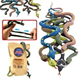 Rubber Snake14 Inch Snake Toy Set(6 Pack)Food Grade Material TPR Super StretchyWith Learning CardValeforToy Realistic…