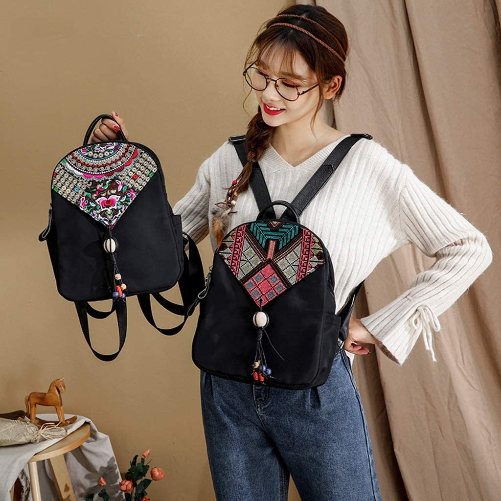 HZH Simple Leisure and Leisure Multi-Function Shoulder Bag Female Three-Layer Embroidery National Wind Backpack Oxford Cloth Bag