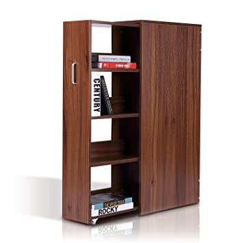 HOMCOM 4 Tier Slide Out Wooden Storage Bookshelf Pull Wood Bookcase Shelving Unit Cabinet Rack