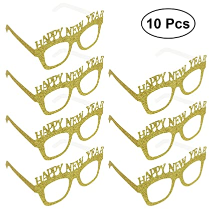 BESTOYARD 10-Pack Happy New Year Eyeglasses Año Gafas de Fiesta Fancy Decorative Eyeglasses Glitter Frame Prop para 2019 Nochevieja Decoración del ...