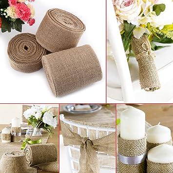 5cm x 10m Hessian Burlap Ribbon Roll Sash Wedding Party DIY Craft Rustic Decor