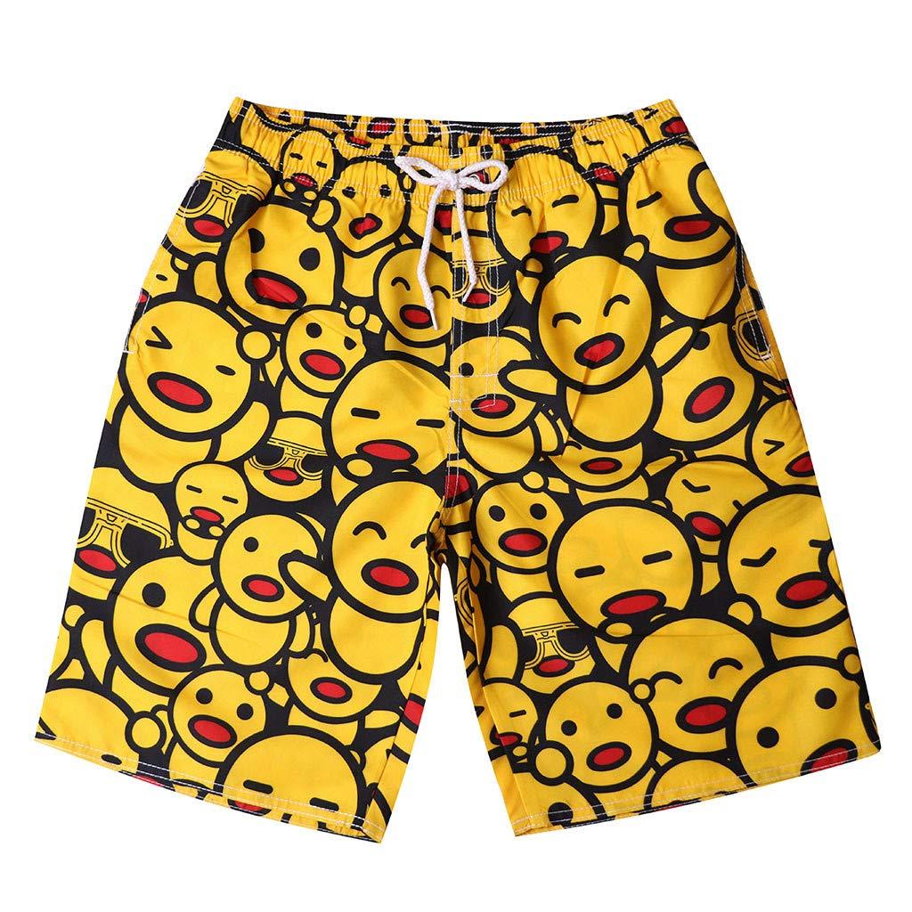 MODOQO Swim Trunks for Men, Quick Dry Face Print Drawstring Loose Fit Swimming Surfing Shorts (Yellow,XXL)
