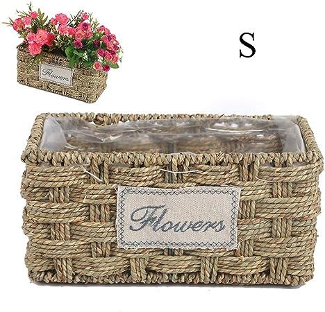 Yissma - Cesta para macetas de Hierba, decoración de mesas de Interior, Maceta de Flores, Maceta para jardín, decoración, pequeño: Amazon.es: Hogar