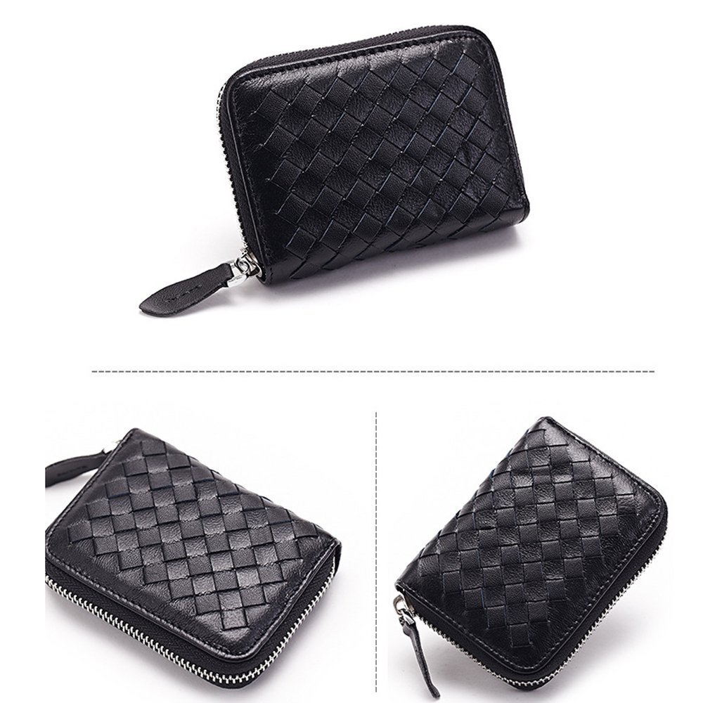 Credit Card Holder Wallet Protector Sleeve Case Organizer Genuine Leather Woven Lambskin Braided Large Capacity by JayTong Black 2