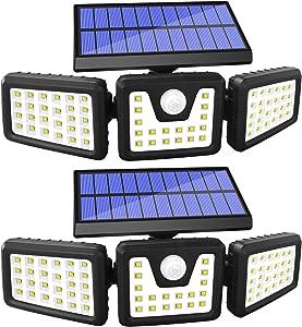 GSBLUNIE Solar Motion Sensor Lights Outdoor,70 LED Solar Security Lights Outdoor,Adjustable 3 Heads,IP65 Waterproof,800LM Flood Light for Yard,Garage,Garden,Patio(2 Pack)
