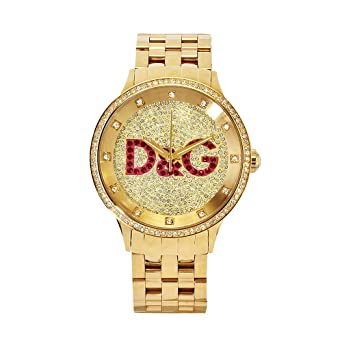 check-out 32adc 9713a D&G WATCH PRIME TIME BIG IPG GOLD DIAL WITH RED LOGO BRC DW0377- Orologio  da donna