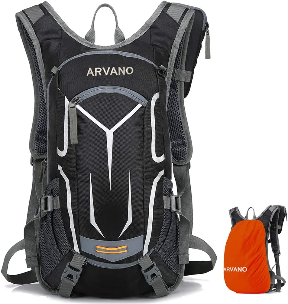 Arvano Mountain Bike Backpack Cycling Backpack – 18L Breathable Biking Backpack Lightweight Ski Rucksack with Rain Cover, Bicycle Backpack for Running Riding Skiing Fits Men Women Upgraded 2019