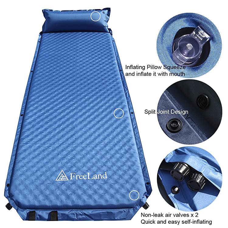 Freeland Camping Sleeping Pad Self Inflating with Attached Pillow, Compact, Lightweight