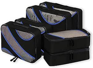 Bagail 6 Set Packing Cubes,3 Various Sizes Travel Luggage Packing Organizers Black