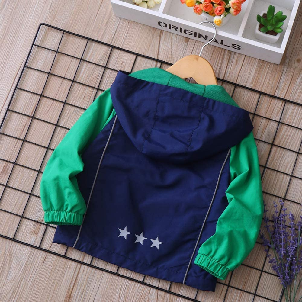 Baby Toddler Boys Soft Windproof Zipper Hooded Jackets Cotton Lined Rain Jackets