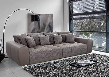 lifestyle4living Big Sofa braun, Kunstleder/Stoff | XXL Sofa mit ...