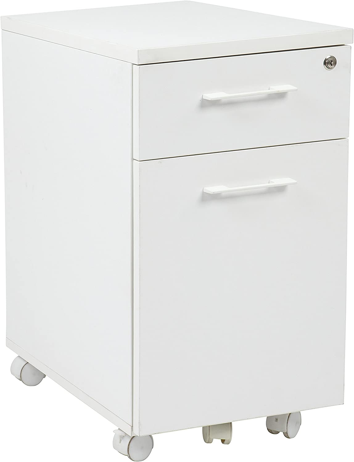 OSP Home Furnishings Prado Mobile File in White with Hidden Drawer and Castors